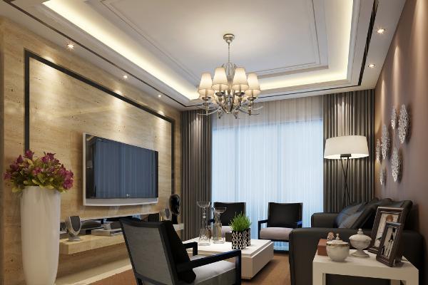 廈門現代簡約客廳吊頂效果圖 現代簡約客廳吊頂裝修案例
