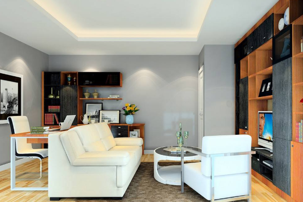 客厅和书房连在一起的装修效果图 客厅和书房一体装修案例
