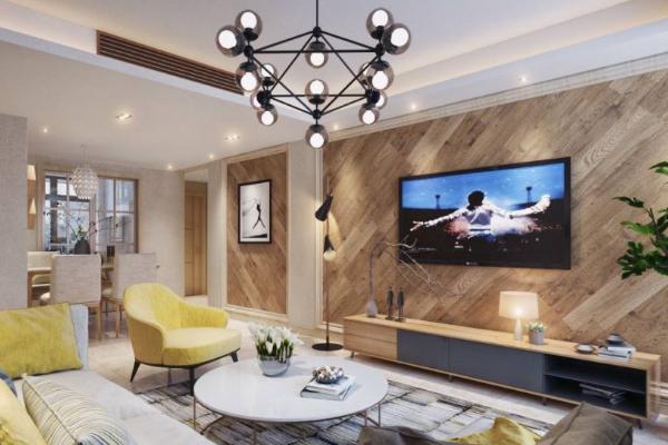 2019木地板做的电视墙图片 木地板电视墙装饰效果图