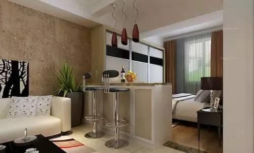 客厅改卧室效果图1.吧台隔断设计
