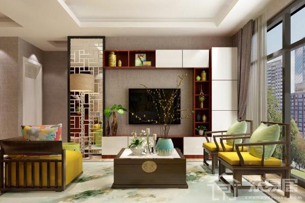 最新中式客厅沙发背景墙效果图 中式沙发墙装修极具格调