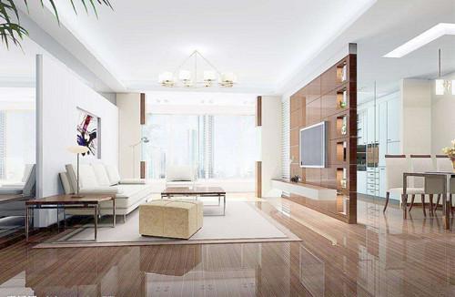 客厅非常的宽敞,整体以白色为主,白色的沙发和茶几非常