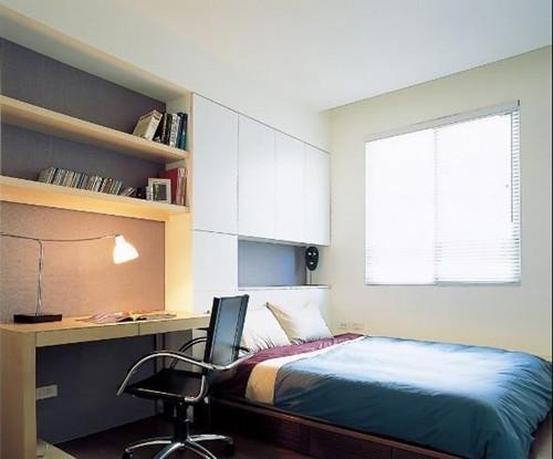 将床与衣柜一体设计能够很好的利用空间,床与衣柜造型功能