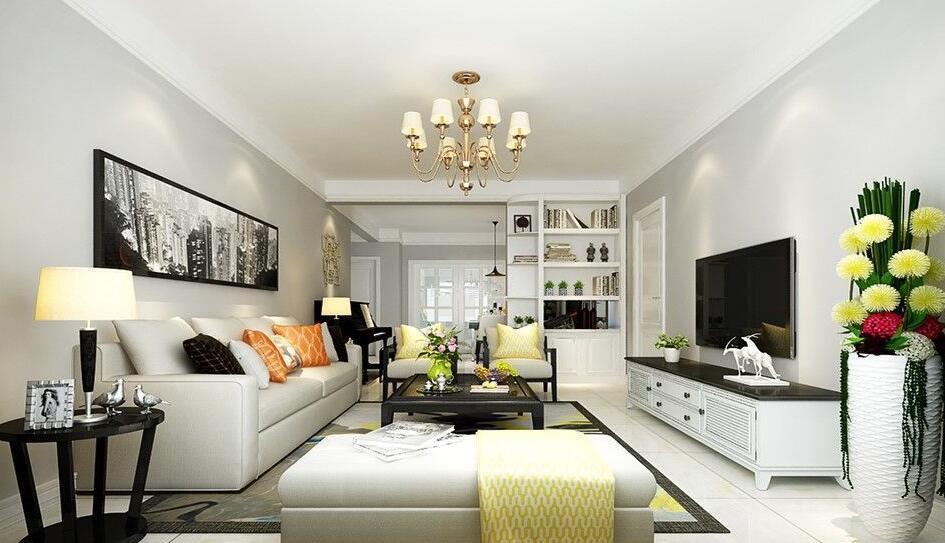 客厅装修,可以看到靠墙的柜子起到了隔断的作用,白色多功能的柜子可以
