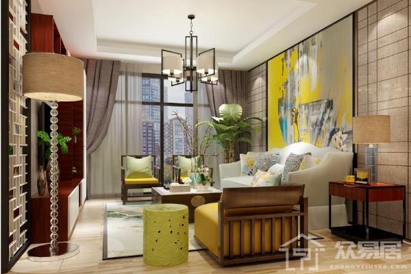 2019新中式客厅窗帘效果图 4款新中式客厅窗帘搭配案例