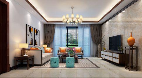 海口颐龙名居 三居室中式风格家庭装修设计案例