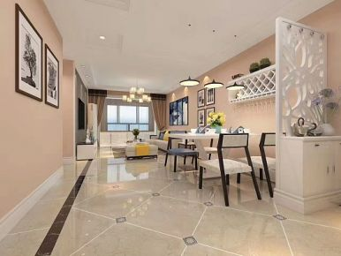 青岛保利叶公馆2期 三居室简约风格家庭装修设计