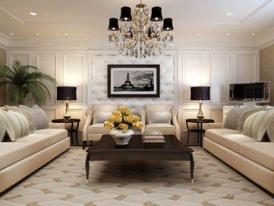 温州莲花大厦 四居室美式风格装修设计效果图