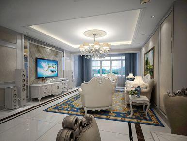 青岛金茂湾 三居室欧式风格装修设计效果图