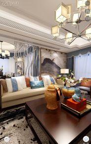 温州铂金湾 三居室新中式家庭装修设计效果图