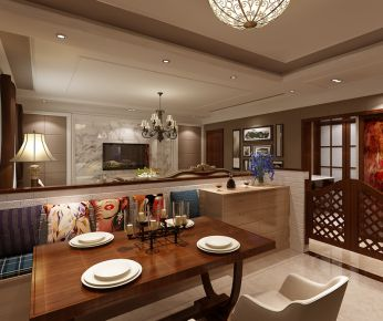 武汉三角路花园 混搭风格家庭装修设计效果图