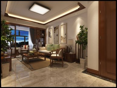 济南海亮艺术华府 二居室中式风格装修设计效果图