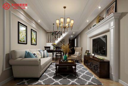 福州保利西江林语 复式美式风格装修设计效果图
