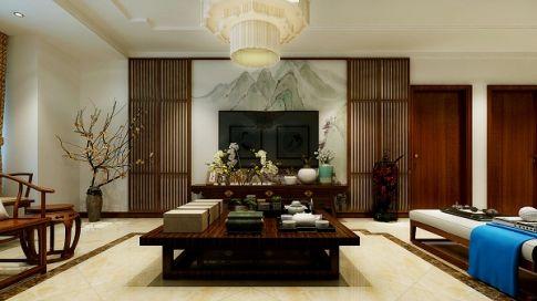 西安曲江观塘 三居室中式风格装修设计效果图