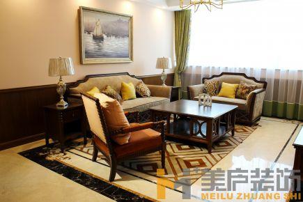 泉州三居室美式风格家庭装修设计效果图