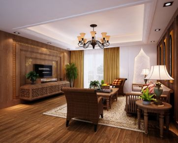 武汉伟星地产 三居室中式装修设计效果图