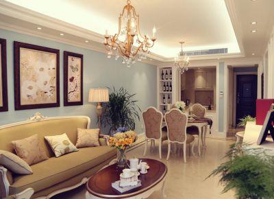 贵阳90平优雅美式风格三居室装修效果图
