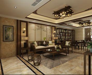 佛山南海颐景园 三居室中式装修设计效果图