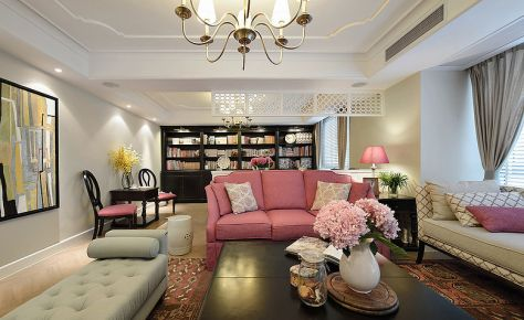 贵阳美式粉嫩时尚三居室装修设计效果图