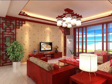 十堰阳光栖谷 三居室中式风格装修设计效果图