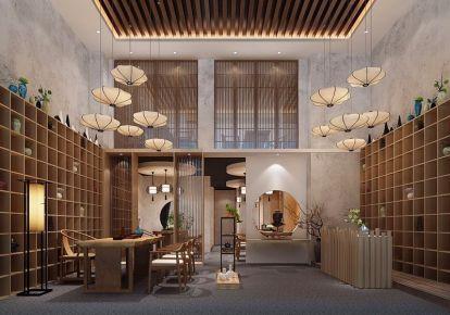 厦门150平茶叶店装修设计效果图