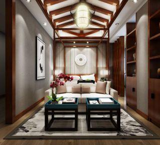 长沙深蓝中心 三居室中式风格装修设计效果图