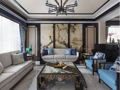 西安四居室中式风格装修效果图 曲江紫薇永和坊