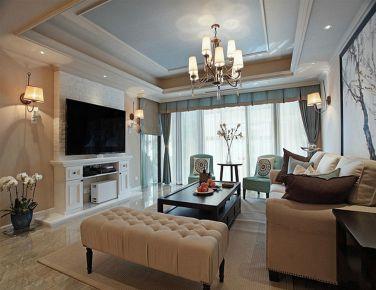 天津意境美式风格二居室装修效果图
