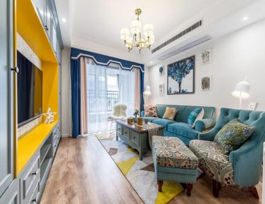 蓝色系优雅美式风格二居室装修效果图