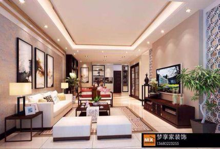 中山景湖城-中式风格三房装修设计
