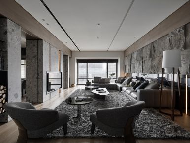 点线面 现代风格四居室装修-无锡绿地西东水