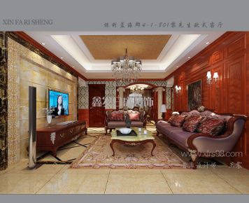 武汉保利中央公馆 三居室欧式风格装修效果图