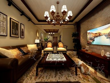 乌鲁木齐美式风格三房装修效果图 世界冠郡