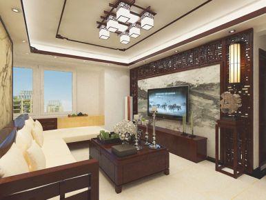 济南新中式风格三房装修效果图 翡翠雅郡
