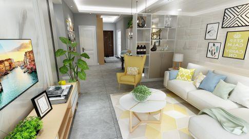 长沙领秀时代小区  现代风格二居室装修设计效果图
