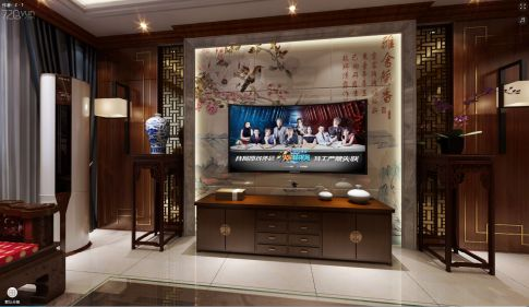 烟台水清木华 中式风格四居室装修设计效果图