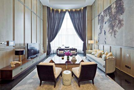 成都新中式唯美别墅装修设计效果图 汇景新城龙熹山小区