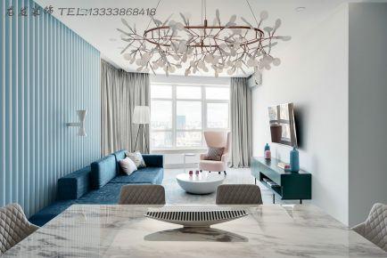 龙发装饰公司正商华钻现代简约130平米三室两厅装修效果图