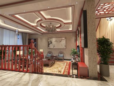 北京固安孔雀城别墅中式风格设计