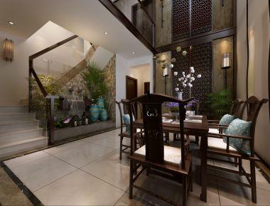 天津竹华里 260平新中式风格复式楼装修设计