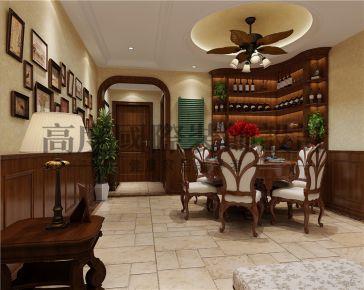 成都棠湖柏林城110平美式风格家庭装修效果图