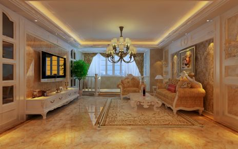 徐州龙商天骄 欧式风格三居室装修设计效果图