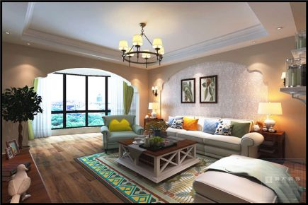 贵阳会展城—美式风格130平米家庭装修效果图