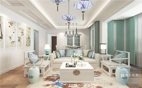 贵阳花果园—新中式风格100平米三房装修效果图