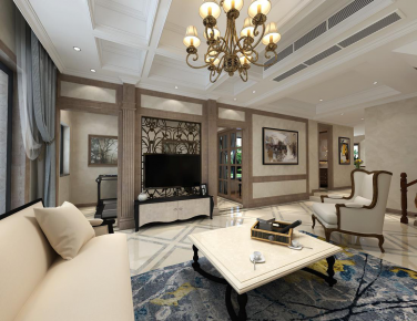 成都龙湖源著210平简美风格家庭装修效果图