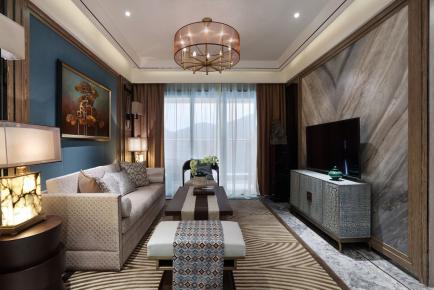 成都保利观澜国际200平新中式风格别墅装修效果图