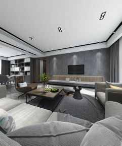 中山现代黑白灰四房装修设计效果图欣赏