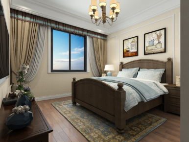 武汉南湖芷岸龙庭 美式风格三居室装修设计