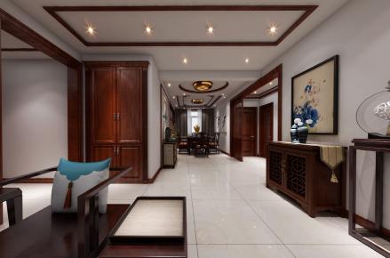 烟台新中式风格三房装修设计效果图 金脉华府