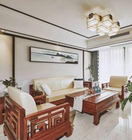 烟台新中式风格三房装修设计效果图欣赏